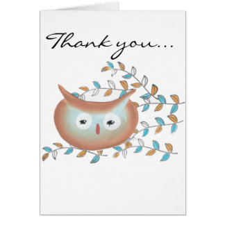 Cute Thank you Owl Picture in Brown & Teal Greeting Card
