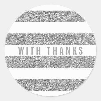 CUTE THANK YOU SEAL modern stripe glitter silver Round Sticker