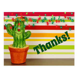 Cute Thanks! Holiday Cactus Southwestern Thank You Postcard
