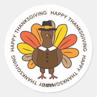 Cute Thanksgiving Turkey Pilgrim Classic Round Sticker