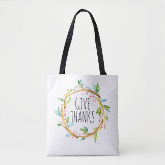 Cute Thanksgiving Wreath-Give Thanks Text Tote Bag