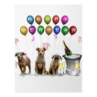 Cute Three Dogs Wishing Happy New Year 2016 Postcard