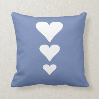 Cute Three Hearts Valentines Day Blue-Gray Pillow