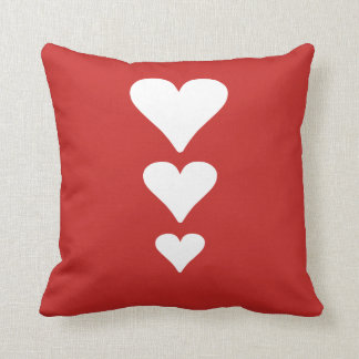 Cute Three Hearts Valentines Day Red Pillow
