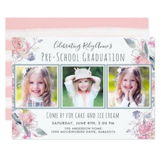 Cute Three-Photo Pre-School Graduation for Girl Card