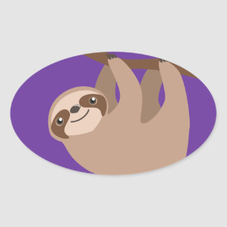 Cute Three-Toed Sloth Oval Sticker