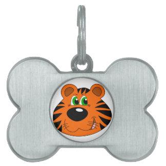 Cute Tiger Cartoon head Pet Tags