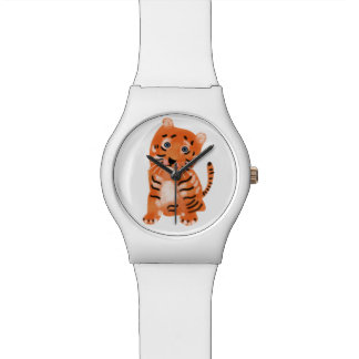 Cute Tiger children watch. Wristwatch