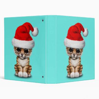 Cute Tiger Cub Wearing a Santa Hat 3 Ring Binder