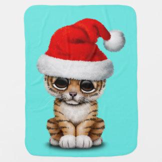 Cute Tiger Cub Wearing a Santa Hat Baby Blanket
