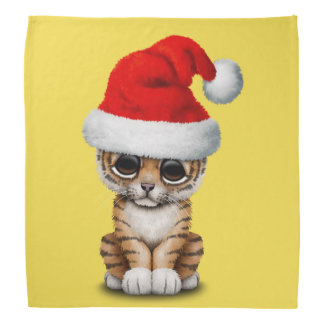 Cute Tiger Cub Wearing a Santa Hat Bandana