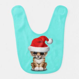 Cute Tiger Cub Wearing a Santa Hat Bib