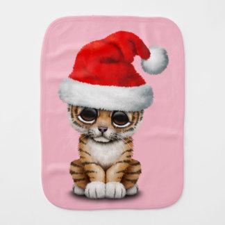 Cute Tiger Cub Wearing a Santa Hat Burp Cloth