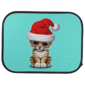 Cute Tiger Cub Wearing a Santa Hat Car Mat