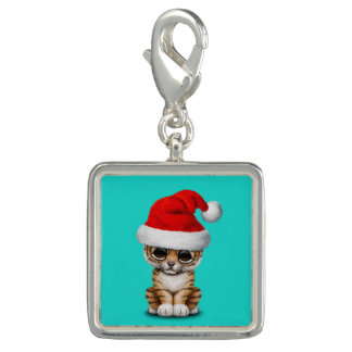 Cute Tiger Cub Wearing a Santa Hat Charm