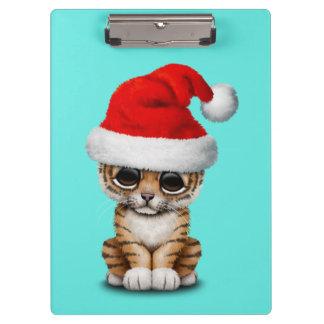 Cute Tiger Cub Wearing a Santa Hat Clipboard