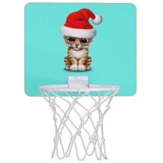 Cute Tiger Cub Wearing a Santa Hat Mini Basketball Hoop