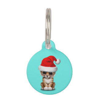 Cute Tiger Cub Wearing a Santa Hat Pet ID Tag