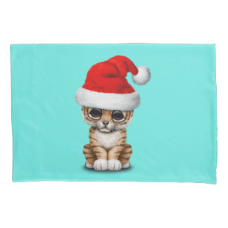 Cute Tiger Cub Wearing a Santa Hat Pillowcase