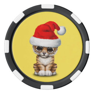 Cute Tiger Cub Wearing a Santa Hat Poker Chips