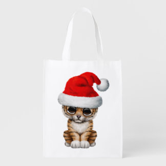 Cute Tiger Cub Wearing a Santa Hat Reusable Grocery Bag