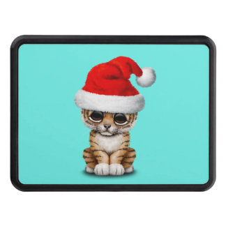 Cute Tiger Cub Wearing a Santa Hat Trailer Hitch Cover