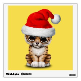 Cute Tiger Cub Wearing a Santa Hat Wall Decal