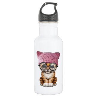 Cute Tiger Cub Wearing Pussy Hat 532 Ml Water Bottle