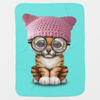 Cute Tiger Cub Wearing Pussy Hat Baby Blanket