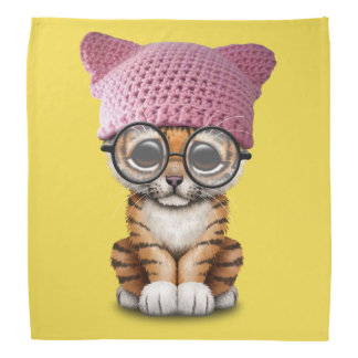 Cute Tiger Cub Wearing Pussy Hat Bandana