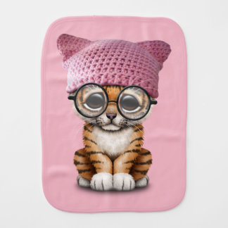 Cute Tiger Cub Wearing Pussy Hat Burp Cloth