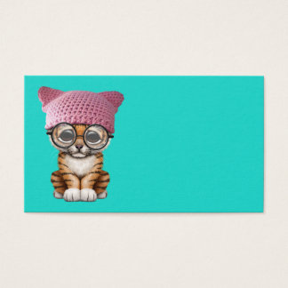 Cute Tiger Cub Wearing Pussy Hat Business Card