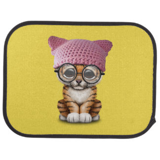 Cute Tiger Cub Wearing Pussy Hat Car Mat