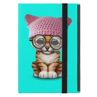 Cute Tiger Cub Wearing Pussy Hat Case For iPad Mini