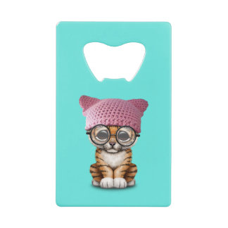 Cute Tiger Cub Wearing Pussy Hat Credit Card Bottle Opener