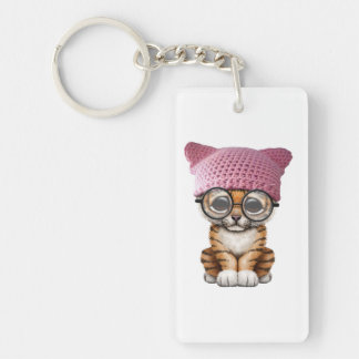 Cute Tiger Cub Wearing Pussy Hat Double-Sided Rectangular Acrylic Keychain