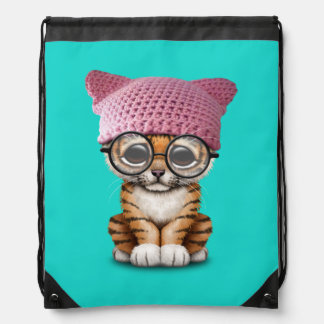 Cute Tiger Cub Wearing Pussy Hat Drawstring Bag