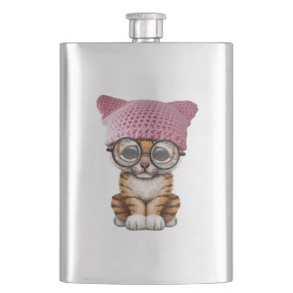 Cute Tiger Cub Wearing Pussy Hat Hip Flask