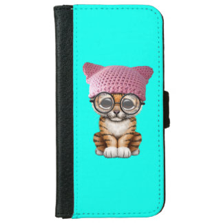 Cute Tiger Cub Wearing Pussy Hat iPhone 6 Wallet Case