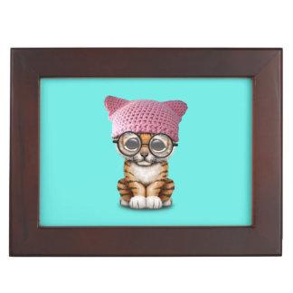 Cute Tiger Cub Wearing Pussy Hat Keepsake Box