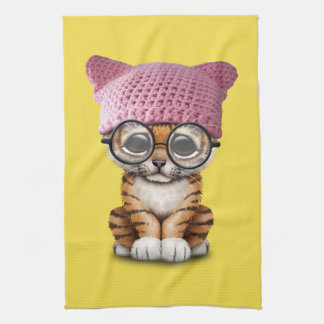 Cute Tiger Cub Wearing Pussy Hat Kitchen Towel