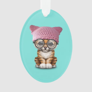 Cute Tiger Cub Wearing Pussy Hat Ornament