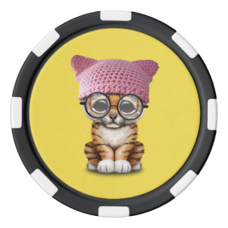 Cute Tiger Cub Wearing Pussy Hat Poker Chips