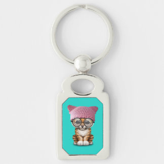 Cute Tiger Cub Wearing Pussy Hat Silver-Colored Rectangle Keychain