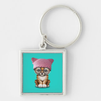 Cute Tiger Cub Wearing Pussy Hat Silver-Colored Square Keychain