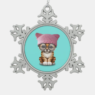 Cute Tiger Cub Wearing Pussy Hat Snowflake Pewter Christmas Ornament