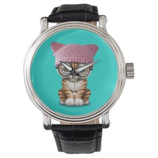 Cute Tiger Cub Wearing Pussy Hat Watch