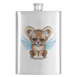 Cute Tiger Cub with Fairy Wings on Blue Flasks
