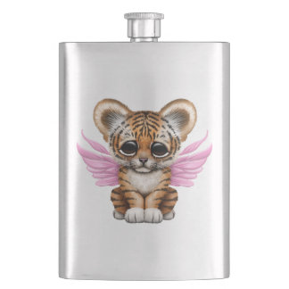 Cute Tiger Cub with Fairy Wings on Pink Flasks