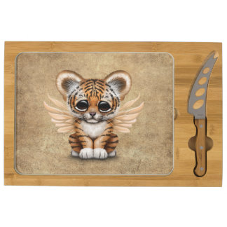 Cute Tiger Cub with Fairy Wings Round Cheese Board